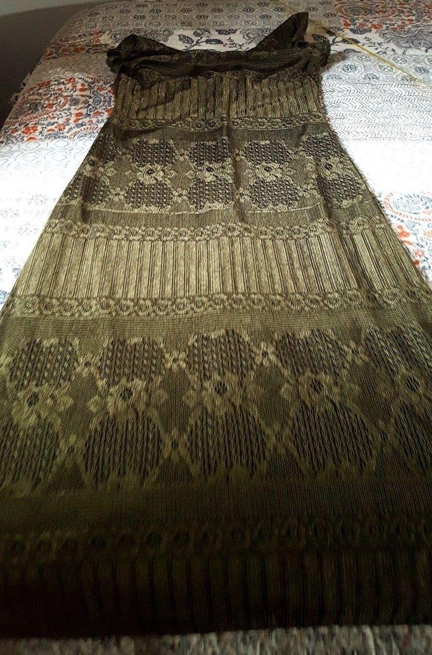 Caroline Wells Long Maxi Dress Forest Grün M L 10 12 openwork floral like lace