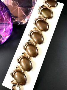 1950-S-Crown-Trifari-Dore-Finition-Brun-Cacao-Lucite-Cabochon-Bracelet-Lien