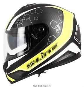 Casque-Moto-Scooter-Integral-S-Line-440-double-visiere-noir-jaune-taille-XXL