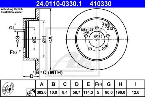 Garnitures Arrière ø302 Peugeot 4007 Citroen 4001879 UAT Disques De Frein