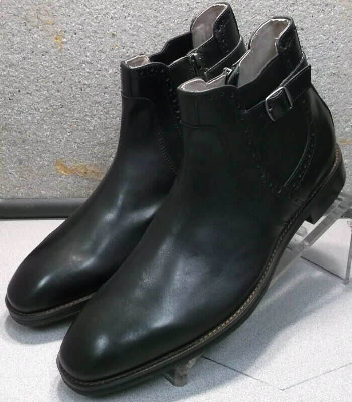 591297 MSBT50 Men's shoes Size 12 M Black Leather Zip Boots Johnston & Murphy