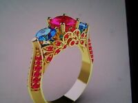 Fashion Jewelry 10kt Yellow Gold Filled Ring, Color Rose Red & Blue Size 8,
