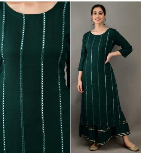 Reyon Palazo Kurti Salwar Kameez Indian Pakistani Shalwar Suit Casual Party Wear