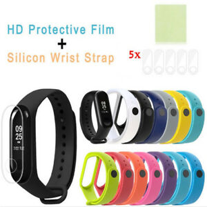 Silicone-Bracelet-Strap-Wristband-For-Xiaomi-Mi-Band-3-HD-Protective-Film