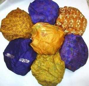 CA LOT PURE SILK Vintage Sari REMNANT Fabric 7 Pcs 1 ft Blue Violet #ABD4J