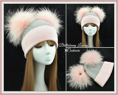Cappello Luxury Pelliccia 2 Pon Pon Cashmere Rosa/grigio Bambina Baby Hat Fur Acquista Sempre Bene