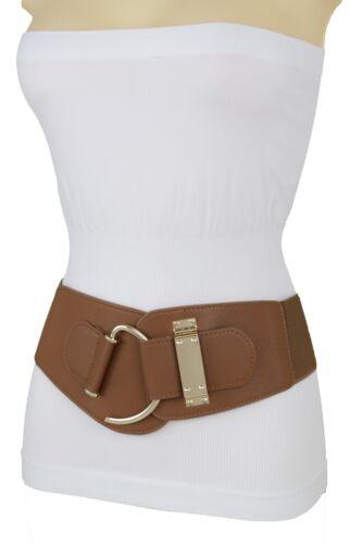 Women Hip Waist Gold Metal Hook Buckle Fashion Brown Elastic Band Belt Size S M