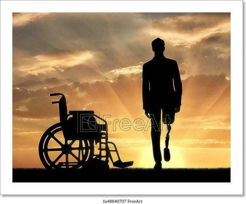 Walking Is A Disabled Man With A Art Canvas Print. Poster, Wall Art, Home Decor