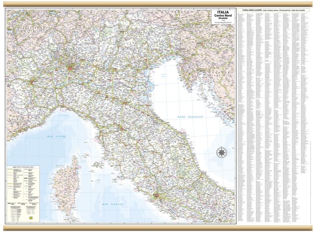 Cartina Stradale Italia Centro Nord.Italia Centro Nord Cartina Murale 119x88 Cm Carta Mappa Poster Belletti Ebay