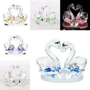 Clear-Crystal-Glass-Swan-Wedding-Ornament-Heart-Shape-Love-of-Symbol-Decor-W