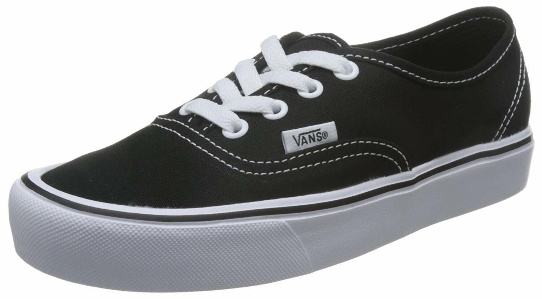 Vans Authentic Lite Sneakers (Canvas) Black White Mens 9 9.5 Womens 10.5 11