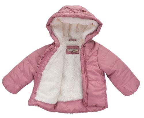 Baby Mädchen Jacke Steppjacke Winterjacke mit Kapuze Rosa 62 80 68   74