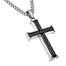 Armor of God, MEN Black Steel Cross Necklace Pendant, Ephesians 6:11 Christian