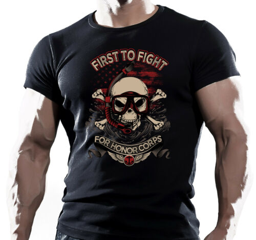 US MARINE ARMY AIRSOFT SPECIAL FORCES FIRST TO FIGHT US NAVY SEAL T SHIRT