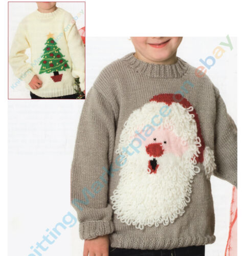 2 Knitting Patterns 5 Sizes age 2-11  C107 Christmas Santa /& Tree Jumpers