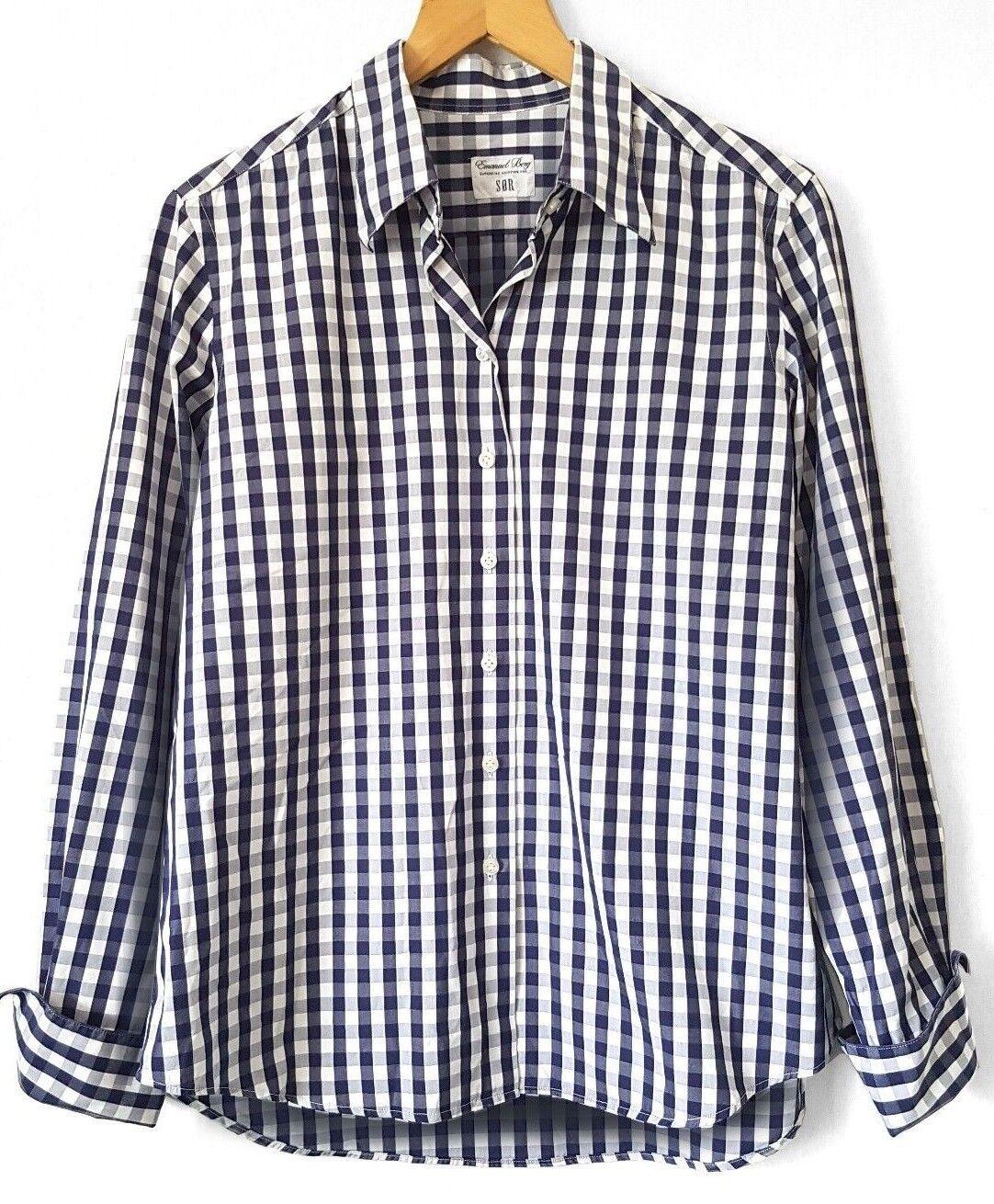 Emanuel BERG CAMICIA Manica Lunga Top Camicia Donna Blusa Camicia Camicetta S 38 40 BLU k19