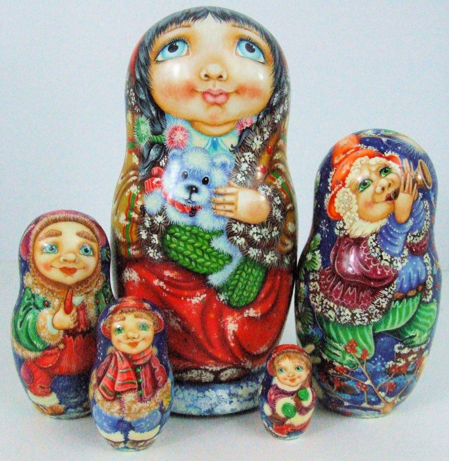 5pcs Pintado a Mano Muñecos-caja Rusos  Christmas Time  por Artista Pokrovskaya
