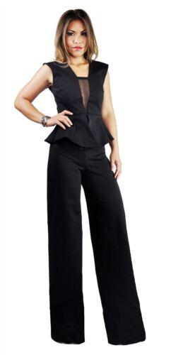 Women/'s Black Peach Peplum High Waist V-Neck With Mesh Wide Leg Party Jumpsuit