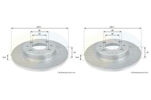Front Coated Brake Discs FOR SEICENTO 1.1 900 97-/>10 Electric Petrol Comline