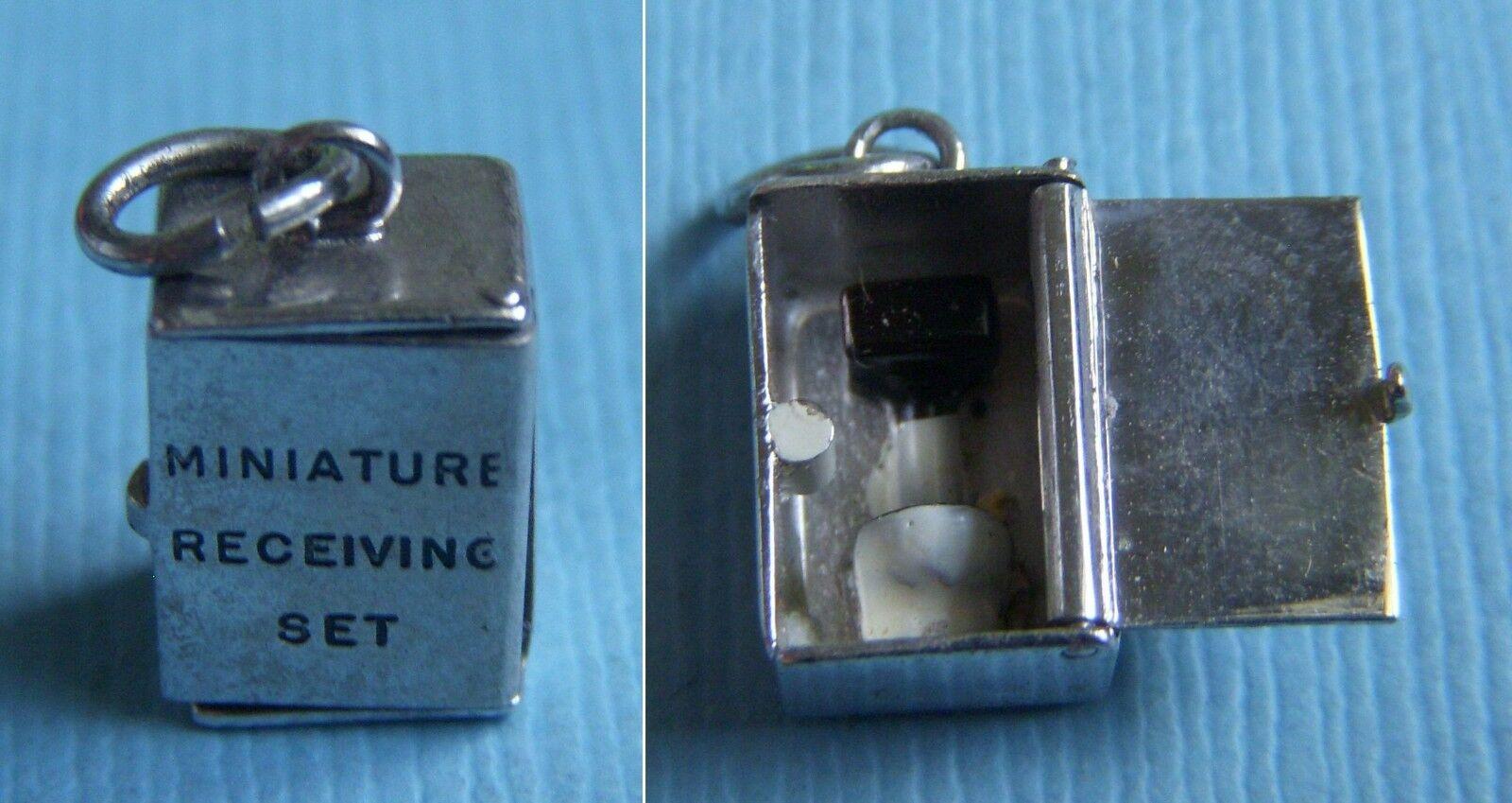 Vintage movable enamel Miniature Receiving Set toilet punny sterling charm
