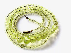 Vintage Art Deco Long Graduated Uranium Glass Faceted Bead Necklace 27.5 Inches
