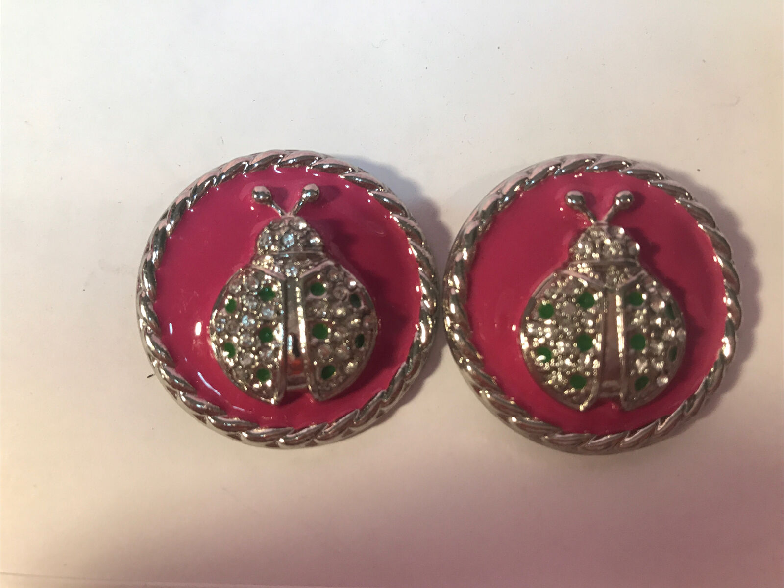 Lindsay Philips Interchangeable Shoe Snaps Decorative Charms PINK/SILVER LADYBUG