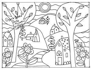 RUG HOOK CRAFT PAPER PATTERN In The Mountains FOLK ART PRIMITIVE Karla Gerard
