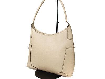 Authentic SALVATORE FERRAGAMO Light Beige Leather Shoulder Bag FS6214L