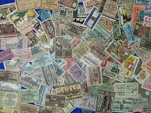 Lot-of-100-old-banknotes-notgeld-from-Germany-and-Austria-original-used