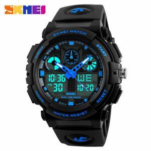 SKMEI-Men-039-s-Sports-Dual-Time-LED-Date-Waterproof-Military-Quartz-Wrist-Watches