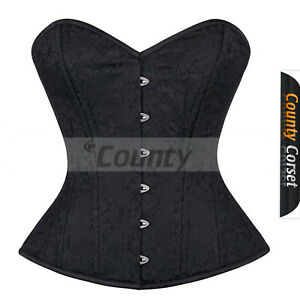 Black Training Corset Full Steel Bust Over Gothic Brocade Boned Waist Bustier 87w8A