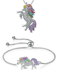 UNICORN-Rainbow-Pendant-Necklace-amp-Bracelet-with-Rhinestones-amp-Chain-Party-Gift