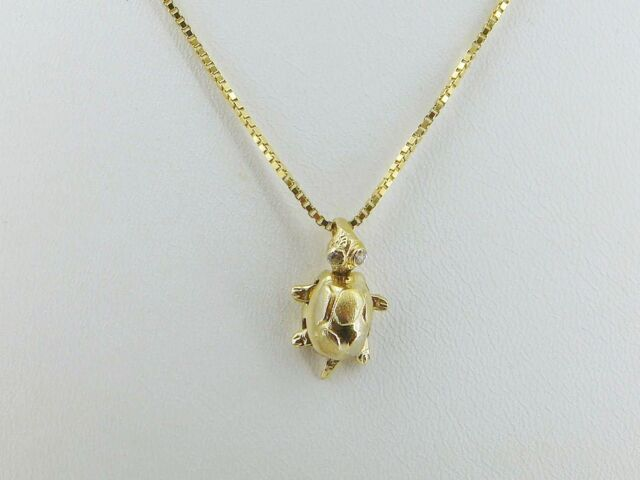 """Anhänger """"Schildkröte mit 2 Diamanten"""" in 585/- Gelbgold!"""