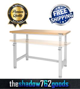 "48/"" Seville Classics Adjustable Height Heavy-Duty Hard Wood Top Workbench NEW"