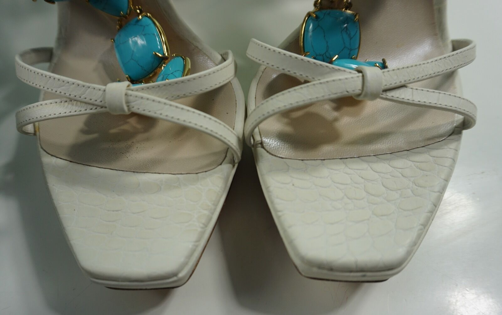 NIB Christian Christian Christian Dior White Piedra sandals, size 38 d8bef2