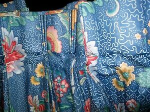 Blue-Drapes-Curtains-Heavy-Lined-Custom-made-cottage-CHIC-floral-56-034-w-x-82L-Euc