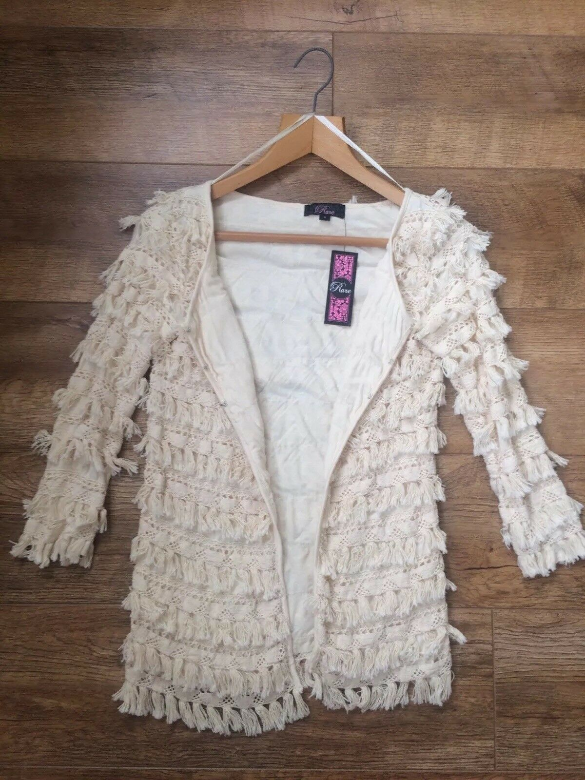 Brand New Rare London Topshop Cream Fringe Tassel Woven Boho Cardigan