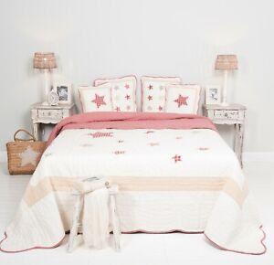 SALE Quilt Patchwork Q161.060 180 x 260 Überwurf rot creme Sterne Clayre & Eef