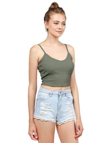 Women Spaghetti Strap V Neck Vest Cropped Girls Cotton Ribbed Cami Tank Crop Top