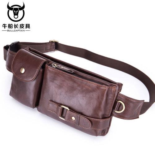 Men/'s Genuine Leather Brown Belt Bag Fanny Pack Waist Wallet Sling Chest Bag QU