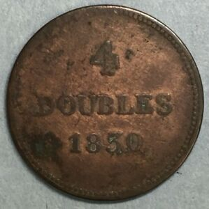 1830-Britain-British-UK-Copper-4-Doubles-Token-Coin-Guernesey-SS773