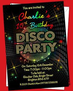 Personalised Birthday Disco Party Invitations Ebay