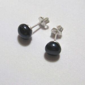 76ef8de35 Image is loading 6mm-Black-Freshwater-pearl-stud-earrings-1-2g