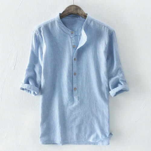 Casual Shirts T-Shirt Striped Tops Button Collar Mens Henley V-neck