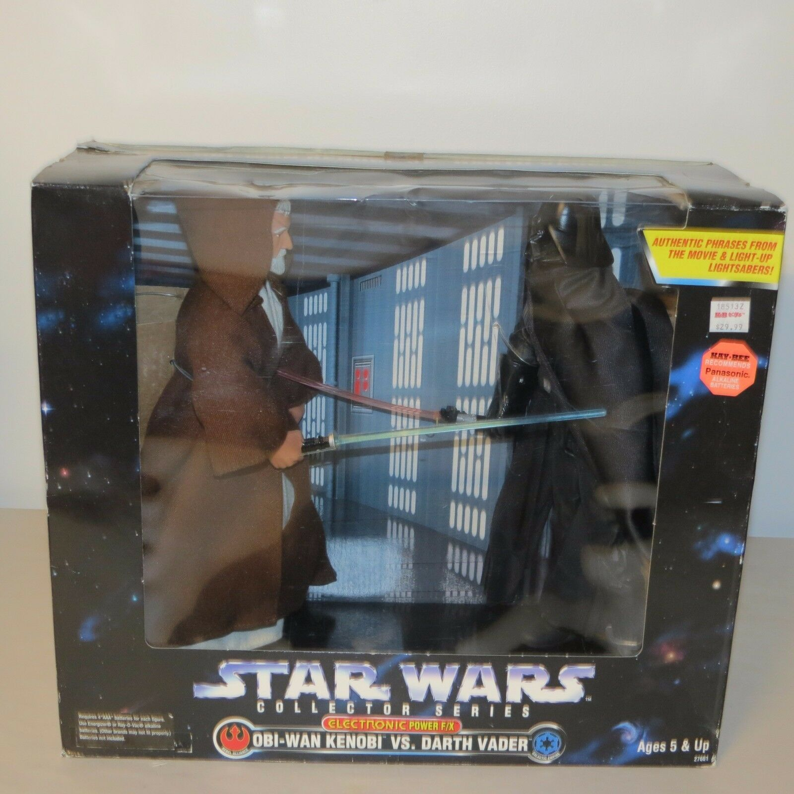 Star - wars - elektronik macht f   x obi-wan kenobi vs darth vader kenner 1997