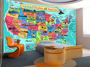 USA Map in Cartoon Style Wall Mural Photo Wallpaper GIANT WALL DECOR ...