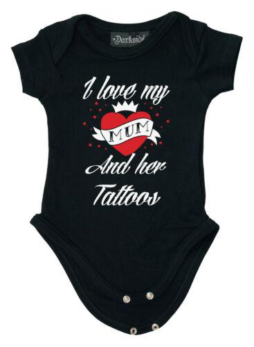 Darkside clothing j/'aime ma maman et ses tatouages babygrow//baby grow//ange biker