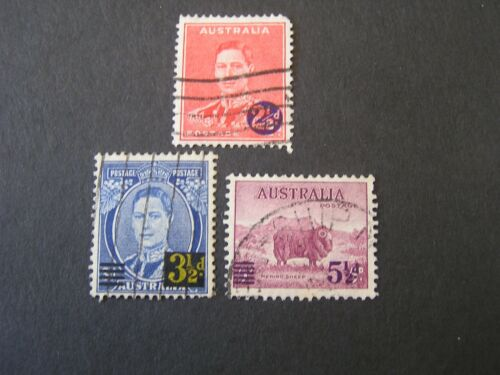 *AUSTRALIA, SCOTT # 188+189+190(3),3-SINGLE SETS 1941 SURCHARGED ISSUES USED