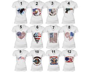 Women-039-s-American-Flag-distressed-4th-of-July-T-shirt-USA-Pride-V-Neck-T-Shirt