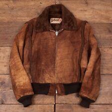 """Mens Vintage Schott Suede Fur Lined Bomber Jacket Brown Size M/L 42-44"""" R3128"""
